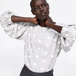 Zara Polka Dot Long Sleeve Blouse Light Gray White